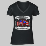 American Made With Puerto Rican Parts Puerto Rican American Flag V Neck